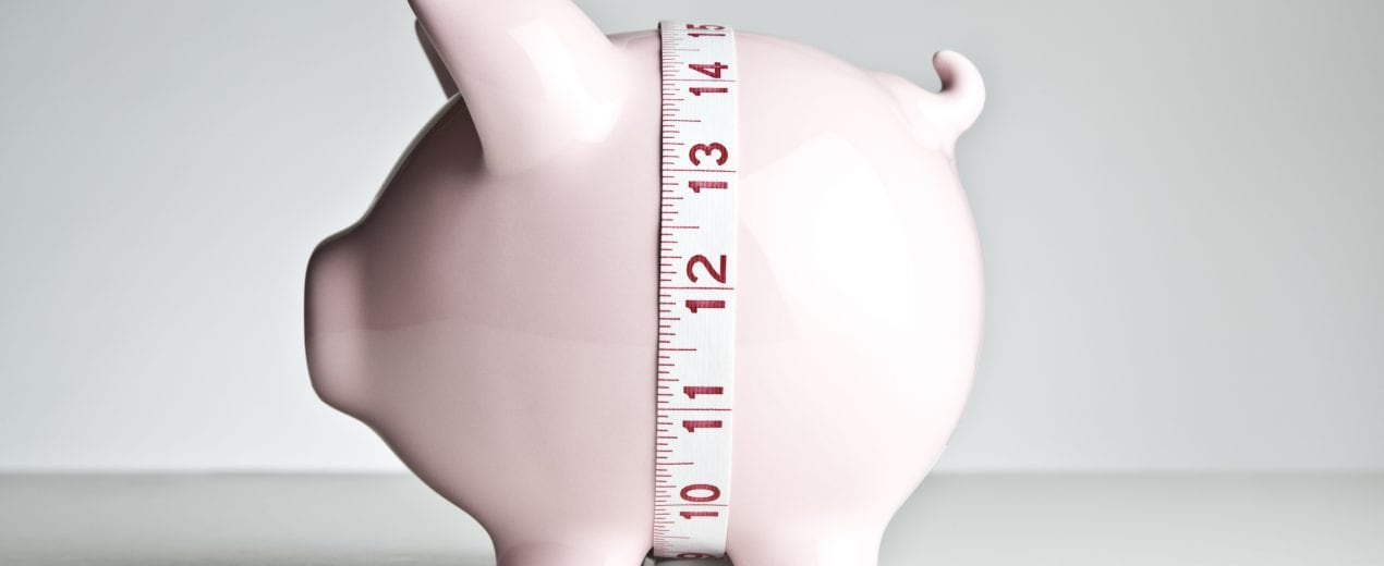 Piggy bank with tape measure